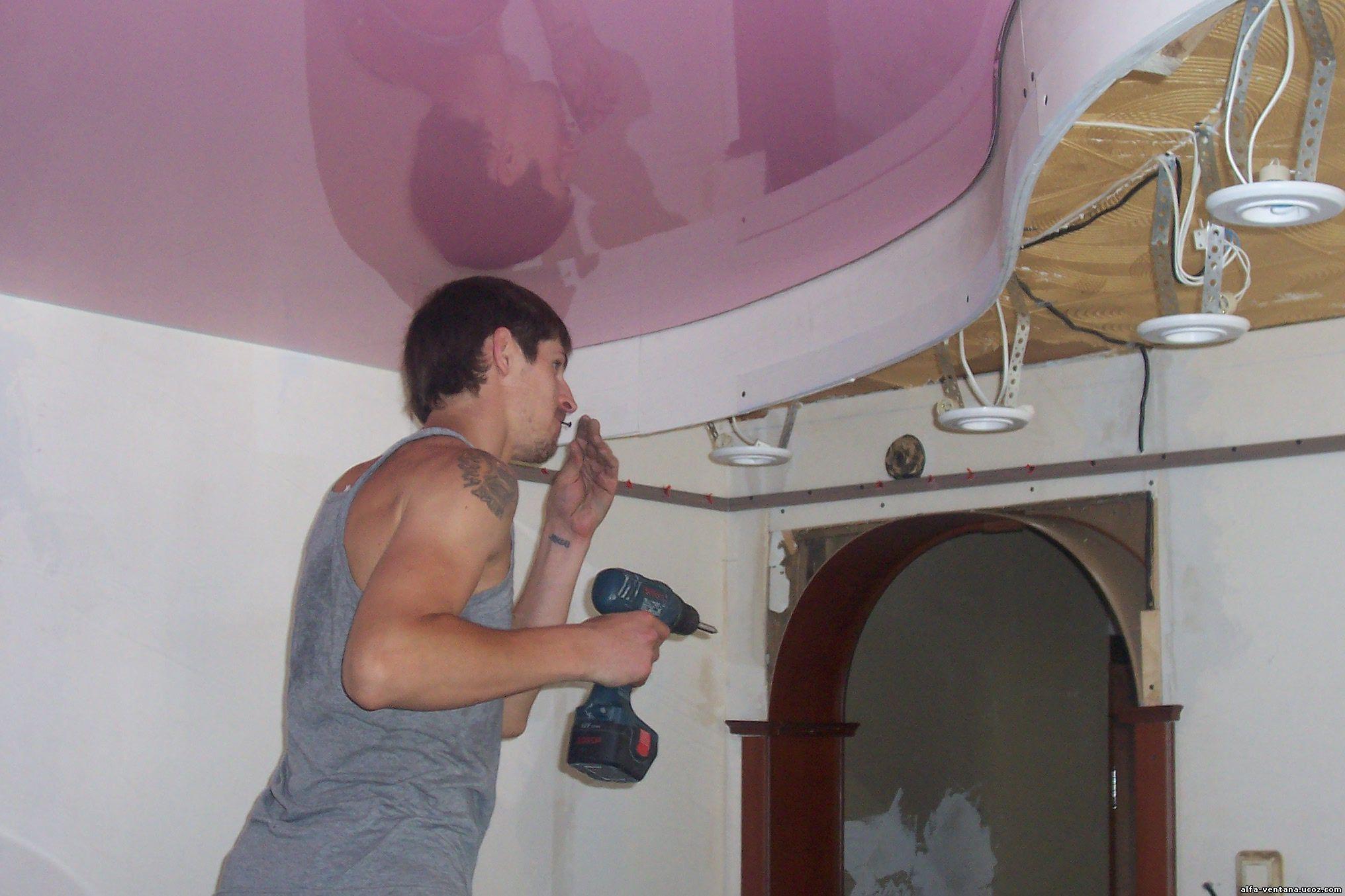 Как сделать натяжной потолки 132